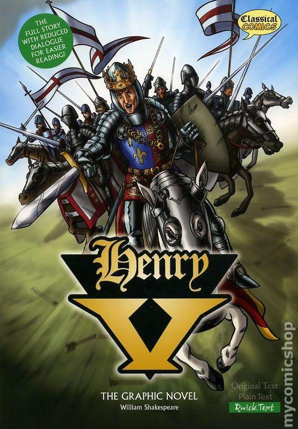Livro sobre o Rei Henry V da Inglaterra em quadrinhos adaptado da peça de Shakespeare.